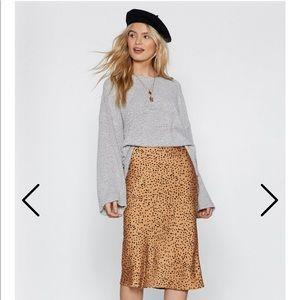 Nasty Gal Spotty Check Satin Midi Skirt (Cheetah)